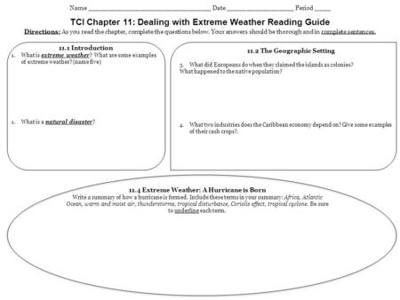 TCI Chapter 11: Dealing with Extreme Weather Reading Guide