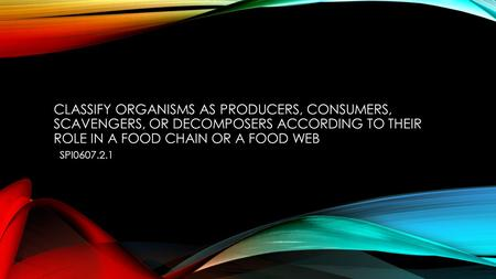 Classify organisms as producers, consumers, scavengers, or decomposers according to their role in a food chain or a food web SPI0607.2.1.