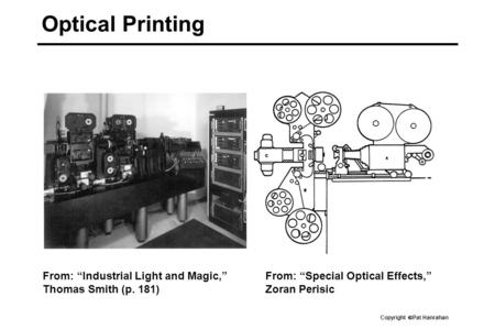 "Copyright  Pat Hanrahan Optical Printing From: ""Special Optical Effects,"" Zoran Perisic From: ""Industrial Light and Magic,"" Thomas Smith (p. 181)"