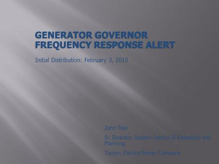Generator Governor Frequency Response Alert