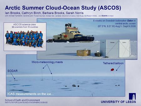 UNIVERSITY OF LEEDS School of Earth and Environment INSTITUTE FOR CLIMATE AND ATMOSPHERIC SCIENCE Arctic Summer Cloud-Ocean Study (ASCOS) Ian Brooks, Cathryn.