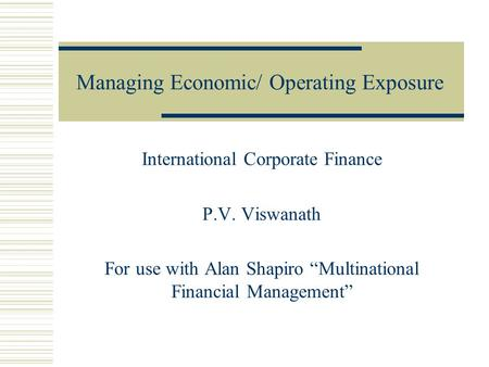 Multinational Financial Management Solutions Manual