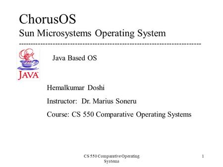 CS 550 Comparative Operating Systems