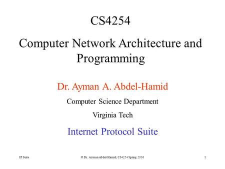 IP Suite© Dr. Ayman Abdel-Hamid, CS4254 Spring 20061 CS4254 Computer Network Architecture and Programming Dr. Ayman A. Abdel-Hamid Computer Science Department.
