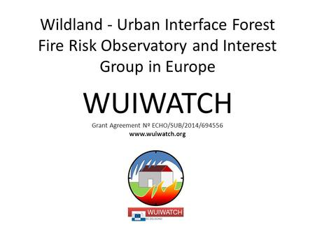 Wildland - Urban Interface Forest Fire Risk Observatory and Interest Group in Europe WUIWATCH Grant Agreement Nº ECHO/SUB/2014/694556 www.wuiwatch.org.