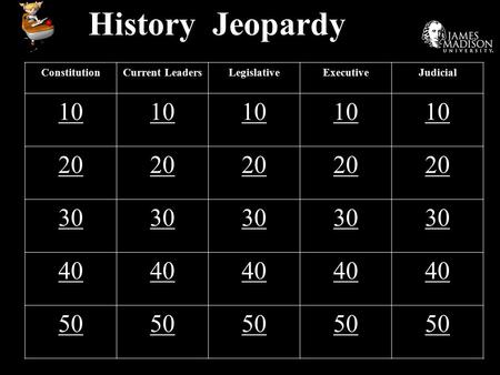 History Jeopardy ConstitutionCurrent LeadersLegislativeExecutiveJudicial 10 20 30 40 50.