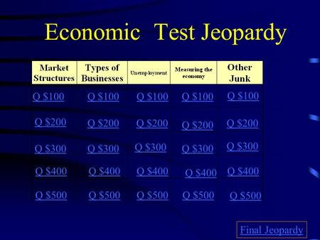 Economic Test Jeopardy Q $100 Q $200 Q $300 Q $400 Q $500 Q $100 Q $200 Q $300 Q $400 Q $500 Final Jeopardy.