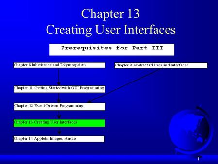 1 Chapter 13 Creating User Interfaces. 2 Objectives F To create graphical user interfaces with various user-interface components: JButton, JCheckBox,