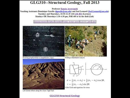 GLG310 Structural Geology. Today's plan Continue Force, Stress, and Strength (Chapter 3) [continue reading Chapter 3] Be sure to cross reference the lecture.
