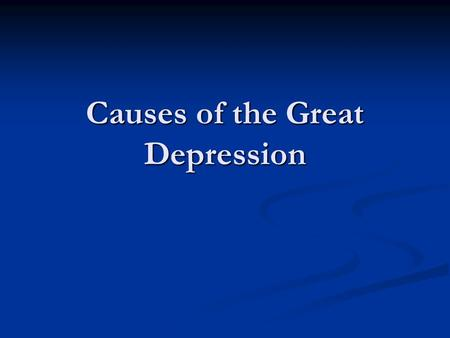 Causes of the Great Depression. Mellon Tax Bills The Revenue Acts of 1924, 1926, and 1928 were known collectively as the Mellon Tax Bill. They were introduced.