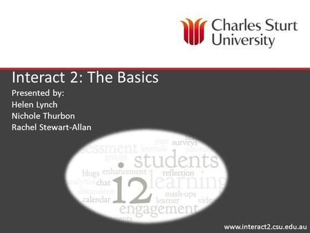 Interact 2: The Basics Presented by: Helen Lynch Nichole Thurbon Rachel Stewart-Allan www.interact2.csu.edu.au.