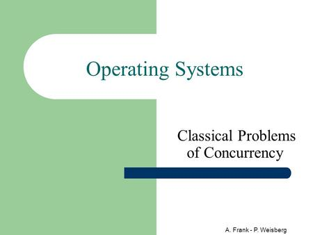 A. Frank - P. Weisberg Operating Systems Classical Problems of Concurrency.