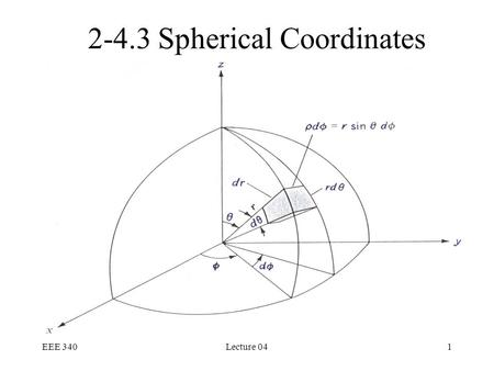 EEE 340Lecture 041 2-4.3 Spherical Coordinates. EEE 340Lecture 042 A vector in spherical coordinates The local base vectors from a right –handed system.