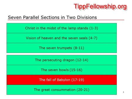 1 Seven Parallel Sections in Two Divisions Christ in the midst of the lamp stands (1-3) ‏ The seven trumpets (8-11) ‏ Vision of heaven and the seven seals.