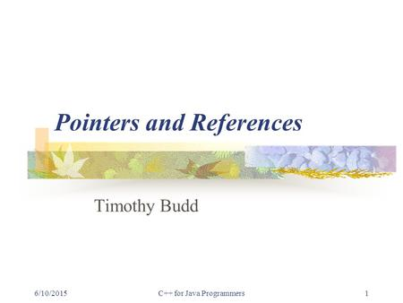 6/10/2015C++ for Java Programmers1 Pointers and References Timothy Budd.