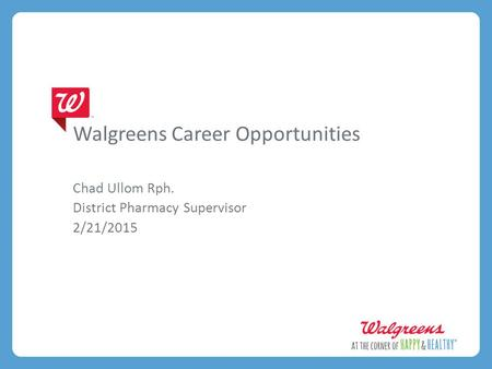 Walgreens Career Opportunities