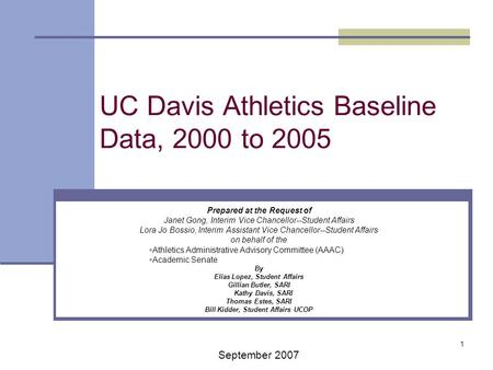 1 UC Davis Athletics Baseline Data, 2000 to 2005 Prepared at the Request of Janet Gong, Interim Vice Chancellor--Student Affairs Lora Jo Bossio, Interim.