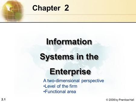 2.1 © 2006 by Prentice Hall 2 Chapter Information Systems in the Enterprise EnterpriseInformation Systems in the Enterprise Enterprise A two-dimensional.