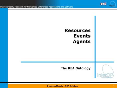 1Business Models – REA Ontology Resources Events Agents The REA Ontology.