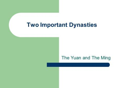 Two Important Dynasties The Yuan and The Ming. The Yuan Dynasty 1260-1368 AD.