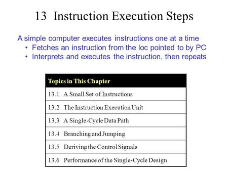 13 Instruction Execution Steps