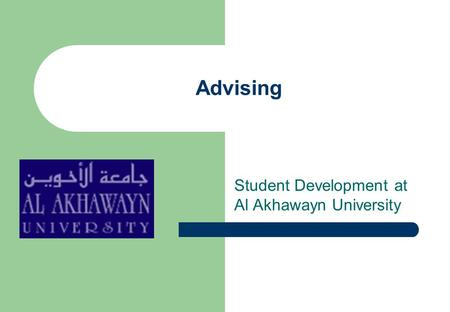 Advising Student Development at Al Akhawayn University.
