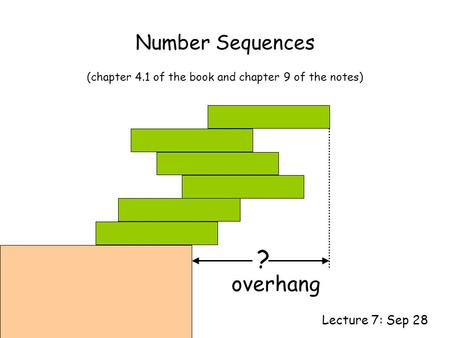 Number Sequences Lecture 7: Sep 28 (chapter 4.1 of the book and chapter 9 of the notes) ? overhang.