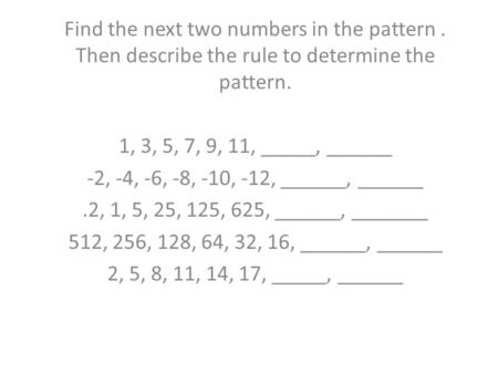 Find the next two numbers in the pattern