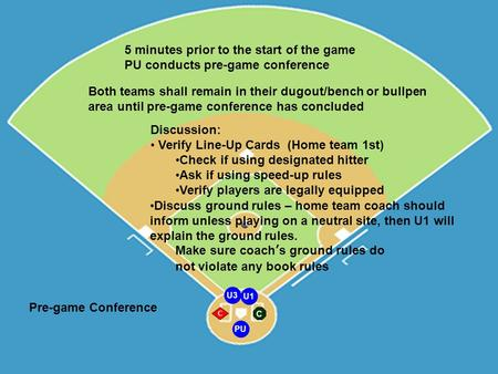 PU U1 U3 C C Pre-game Conference Both teams shall remain in their dugout/bench or bullpen area until pre-game conference has concluded Discussion: Verify.