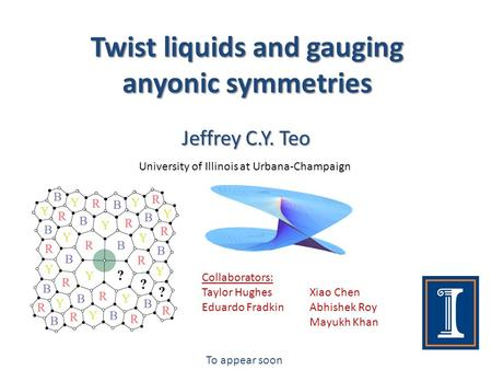 Twist liquids and gauging anyonic symmetries Jeffrey C.Y. Teo University of Illinois at Urbana-Champaign Collaborators: Taylor Hughes Eduardo Fradkin To.
