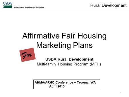 Affirmative Fair Housing Marketing Plans