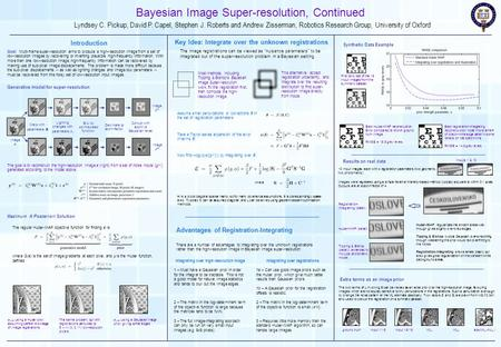 Bayesian Image Super-resolution, Continued Lyndsey C. Pickup, David P. Capel, Stephen J. Roberts and Andrew Zisserman, Robotics Research Group, University.