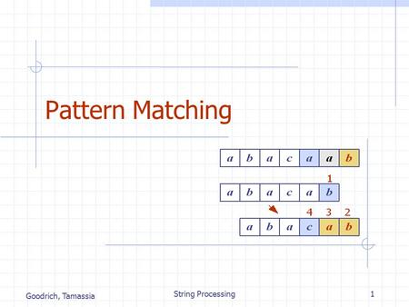 Goodrich, Tamassia String Processing1 Pattern Matching.