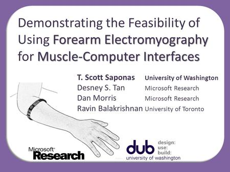 Forearm Electromyography Muscle-Computer Interfaces Demonstrating the Feasibility of Using Forearm Electromyography for Muscle-Computer Interfaces T. Scott.