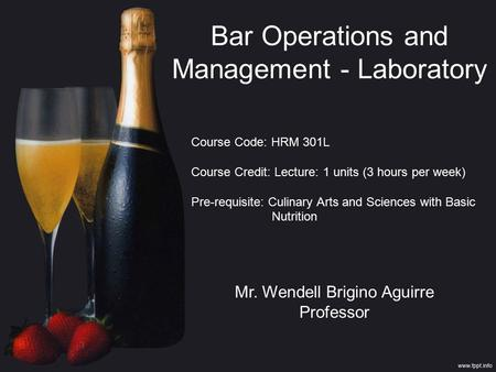Bar Operations and Management - Laboratory