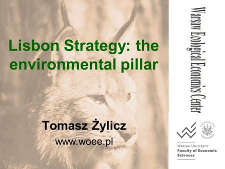 Lisbon Strategy: the environmental pillar Tomasz Żylicz www.woee.pl.