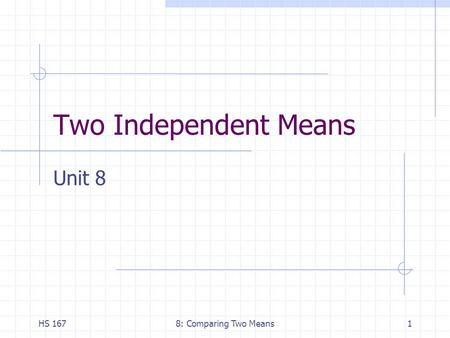 HS 1678: Comparing Two Means1 Two Independent Means Unit 8.