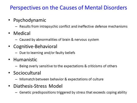 Perspectives on the Causes of Mental Disorders Psychodynamic – Results from intrapsychic conflict and ineffective defense mechanisms Medical – Caused by.