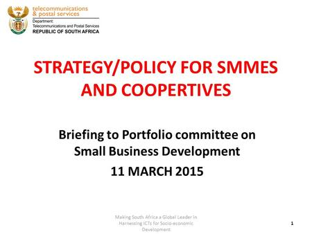 STRATEGY/POLICY FOR SMMES AND COOPERTIVES Briefing to Portfolio committee on Small Business Development 11 MARCH 2015 1 Making South Africa a Global Leader.