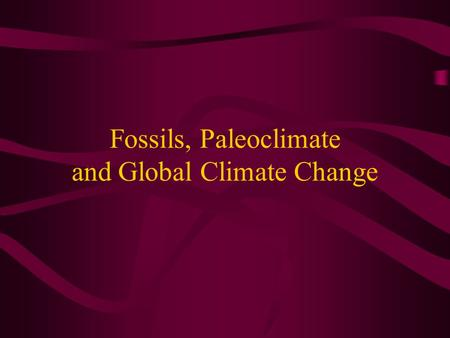 Fossils, Paleoclimate and Global Climate Change. Global Warming CO 2 levels in the atmosphere rising Average global temperature is rising Polar ice caps.