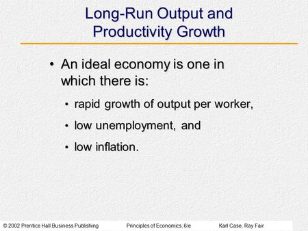 © 2002 Prentice Hall Business PublishingPrinciples of Economics, 6/eKarl Case, Ray Fair Long-Run Output and Productivity Growth An ideal economy is one.
