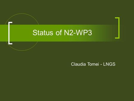 Status of N2-WP3 Claudia Tomei - LNGS. Annual Report Public Communication Tasks - 5th full working meeting lab visit no. 5 (Pyhasalmi) - translation of.