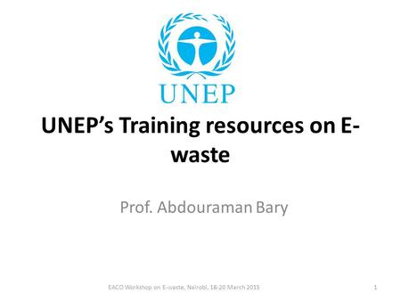 UNEP's Training resources on E-waste