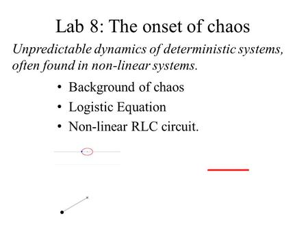 Lab 8: The onset of chaos Unpredictable dynamics of deterministic systems, often found in non-linear systems. Background of chaos Logistic Equation Non-linear.