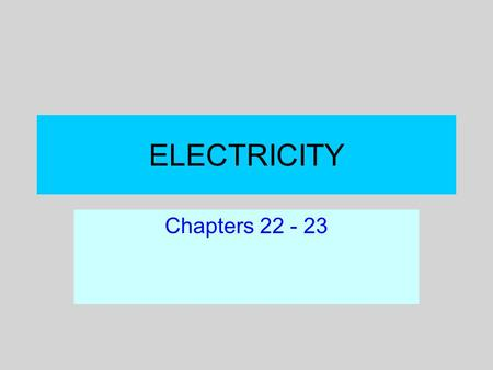 "ELECTRICITY Chapters 22 - 23. Electric charge Electron theory of charge –Ancient mystery: ""Amber effect"" –J. J. Thompson: identified negatively charged."