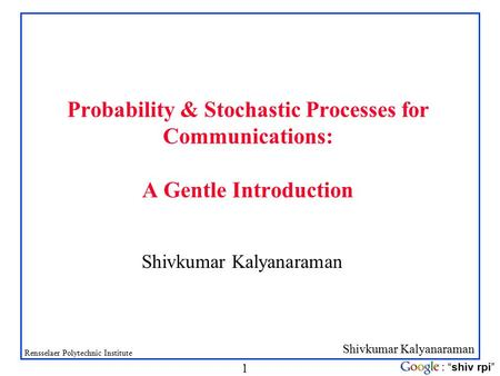 VARIABLES PROBABILITY AND STOCHASTIC PROCESSES RANDOM