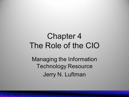 Chapter 4 The Role of the CIO