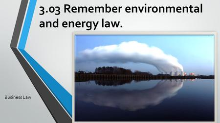 3.03 Remember environmental and energy law. Business Law.