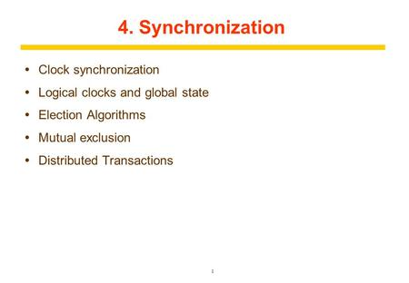 4. Synchronization Clock synchronization