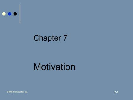 © 2005 Prentice-Hall, Inc. 7-1 Chapter 7 Motivation.